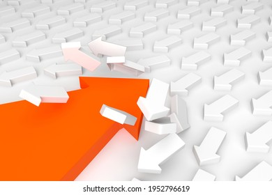 Move forward, overcoming an obstacle. Change disrupt and finding new normal way. On contrary, opposite, One not like other, Contrarian, be against the trend and be non-conformist 3d render. exception