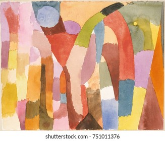 MOVEMENT OF VAULTED CHAMBERS, by Paul Klee, 1915, Swiss drawing, watercolor on paper. Abstract planes of bright color suggest architecture