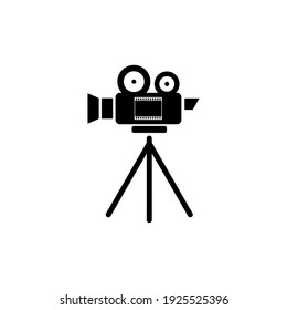 Movie camera and frame icon isolated on white background