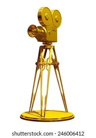 movie camera on a tripod in gold