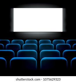 Movie cinema premiere screen with blue seats. Graphic concept for your design, 3d Illustration