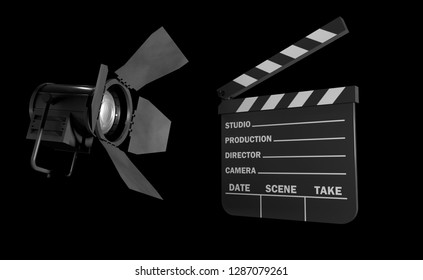 movie clap on the black background 3d rendering