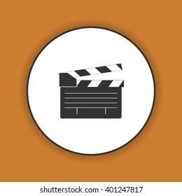 movie clapper board, movie maker . Flat design style