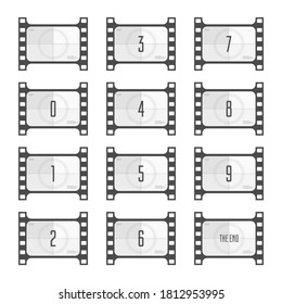 Movie countdown numbers isolated on white background. Screen Countdown to the start of old retro film. Timer counting vintage cinema. Film Counting down for your animation.