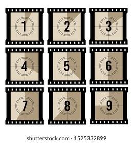 Movie countdown. Old projector film timer counter. vintage filmstrip frames