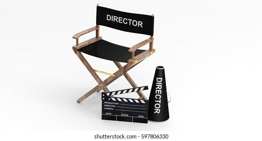 Movie director chair and clapper isolated on white background. 3d illustration