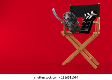 Movie director chair with film reel and clapboard isolated on red background. 3d illustration
