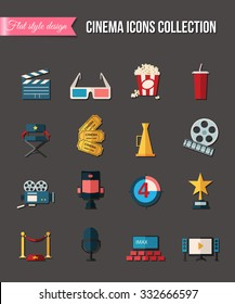 Movie and film icons set. Glasses, reel, tickets. Flat style design