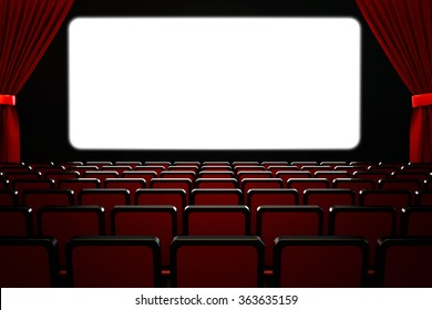 Movie film premiere and show performance concept, theatre hall interior, dark empty cinema auditorium with blank white wide screen, rows of seats and red velvet curtains