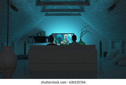 Movie Night Home Theater Lounge - 4K HD 300 DPI - 3D Rendering