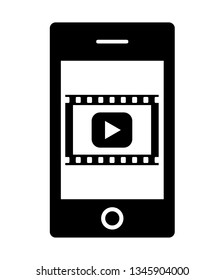 A movie playback mark is displayed on the screen of the smartphone.