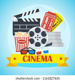 Movie poster template. Cinema flat cartoon illustration. Objects isolated on white background.