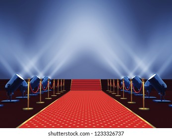 Movie premiere red carpet with stars  lit by spotlight, Award ceremony or festival event, 3d illustration