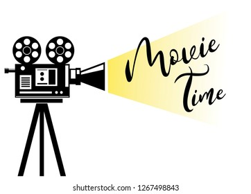 Movie Projection silhouette. Movie time concept on the white background