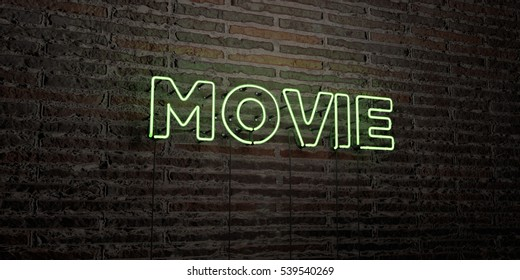MOVIE -Realistic Neon Sign on Brick Wall background - 3D rendered royalty free stock image. Can be used for online banner ads and direct mailers.