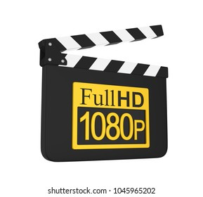 Movie Slate with Full HD 1080p Icon Isolated. 3D rendering