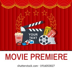 Movie super premier banner with red curtain. Movie making concept. Clapboard, popcorn and tickets. Flat cartoon illustration.