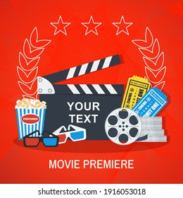 Movie super premier red square banner. Movie making concept. Clapboard, popcorn and tickets. Flat cartoon illustration.