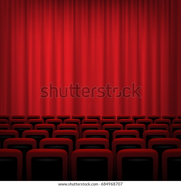 Movie Theater Background Red Curtains Chairs Stock Illustration 684968707