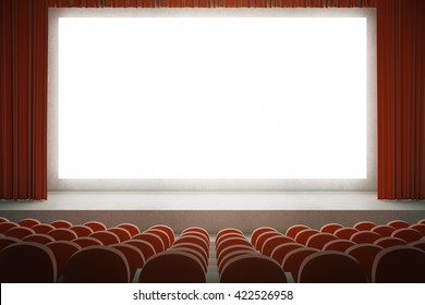 Movie theater with rows of red seats and large blank screen with curtains. Mock up, 3D Rendering