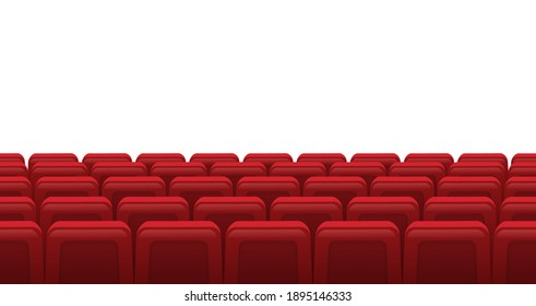 Movie theatre red seats. Empty rows of red cinema theatre seats, movie theatre interior. Cinema movie premiere event  illustration. Hall for watching films or plays with armchairs