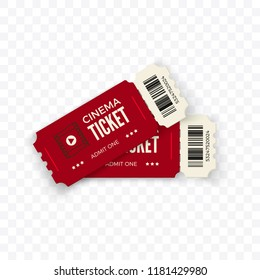 Movie tickets.  Red couple cinema tickets isolated on transparent background. Vector illustration