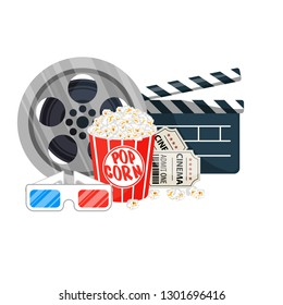 Movie time  illustration. Cinema poster concept. Composition with popcorn, clapperboard, 3d glasses and a film. Cinema banner design for movie theater.