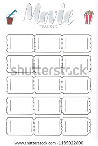 Movie Tracker Bullet Journal Planner Be Stockillustration 1185022600