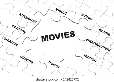 Movies white puzzle pieces assembled