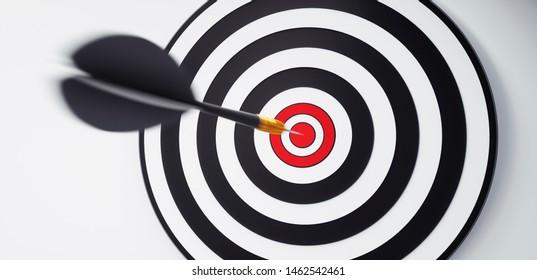 Moving arrow hitting a dartbord - 3D illustration