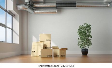 Moving boxes in empty room during relocation (3D Rendering)