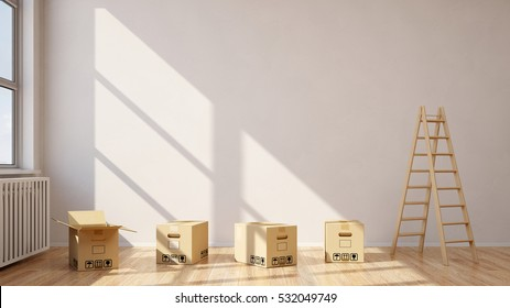 Moving boxes and ladder in empty room in front of a wall (3D Rendering)