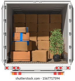 Moving boxes in trucks when moving with a forwarding company (3d rendering)