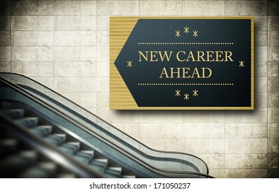 Moving escalator stairs with new career concept