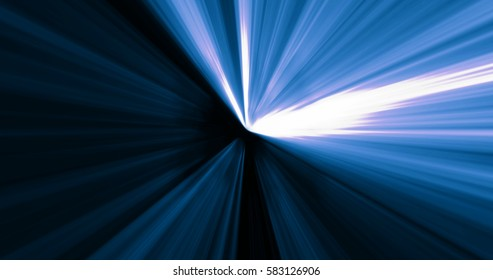 moving fast in abstract futuristic blue tunnel