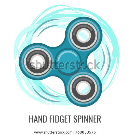 Moving Hand Fidget Spinner Color Blue Toy Stress And Anxiety Relief Colorful Illustrations
