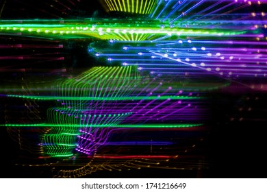 moving lights in dark space sci fi background