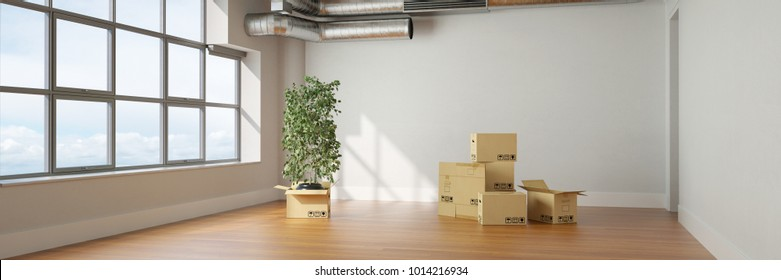Moving to a loft with many moving boxes in the room (3D Rendering)