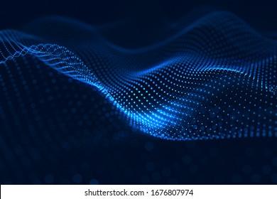 Modern Sie neonblaues Punktmuster, das eine digitale Netzwerkverbindung auf dunklem Hintergrund bildet 3D-Rendering