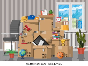 Moving to new house. Family relocated to new home. Paper cardboard boxes with various household thing. Package for transportation. Computer, lamp, clothes, books. illustration in flat style