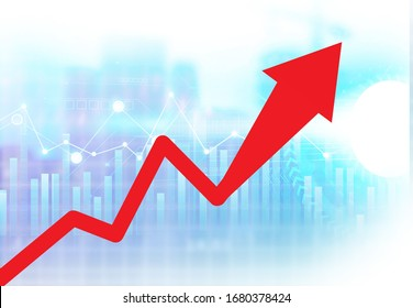 Moving red arrow shows business growth. Digital illustration