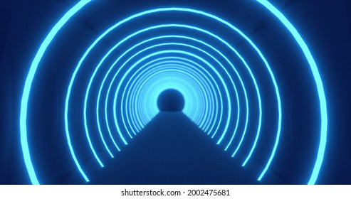 Moving through a tunnel of concetric blue neon arcs pulsating on a black background. energy, electricity, colour and movement concept, digitally generated iimage.