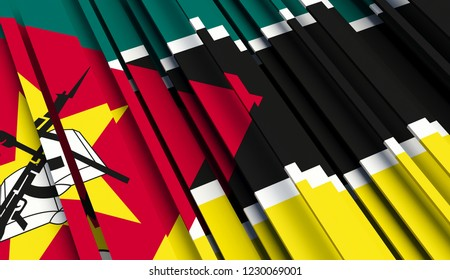 Mozambique Abstract Flag of . 3D illustration