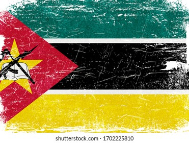 Mozambique, Mozambique Flag, Mozambique Flag Background, Grunge Flag Background, Mozambique Vintage Flag Background, Banner, Wallpaper