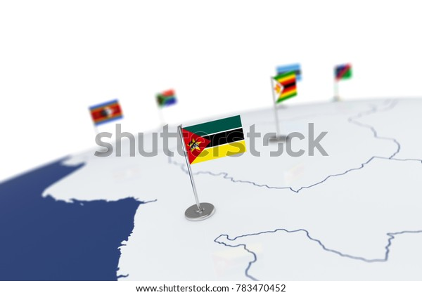 Mozambique flag. Country flag with chrome flagpole on the world map with neighbors countries borders. 3d illustration rendering flag
