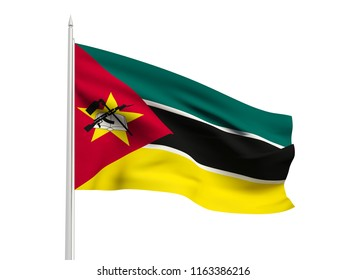 Mozambique flag floating in the wind with a White sky background. 3D illustration.