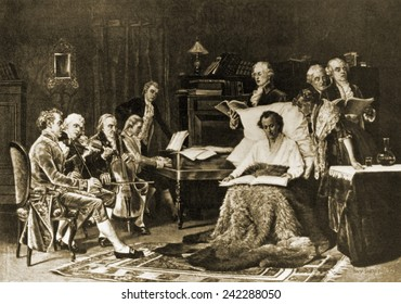 Mozart (1756-1791) bedchair during his fatal illness, singing his requiem. In 1891 Mozart was commissioned to compose a requiem, which he left incomplete at his death. Painting by Thomas W. Shields