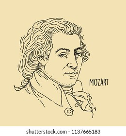 Mozart Line Art Portait Hand Drawing