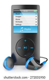 mp3 player audio musical portable headphones Walkman ipod iphone, apple isolated 3d