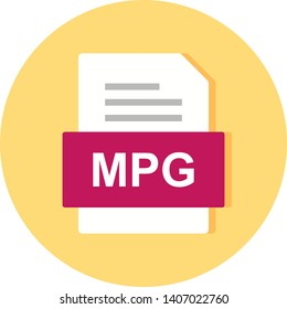 MPG File Document Icon In Trendy Style Isolated Background